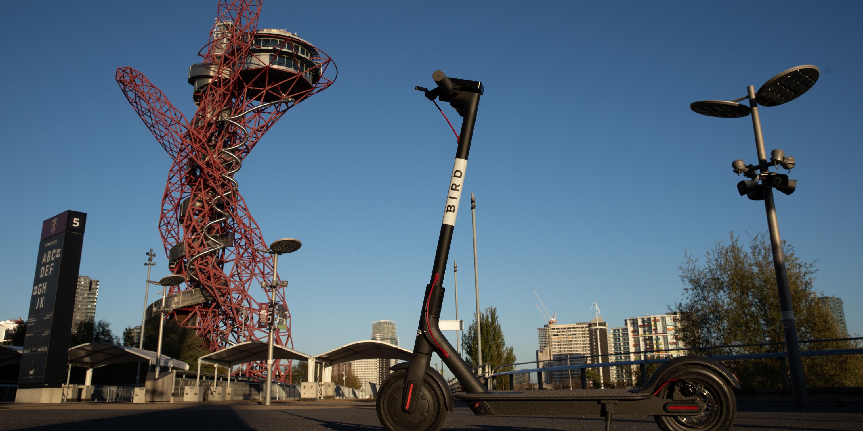 Bird e-scooter in Queen Elizabeth Olympic Park